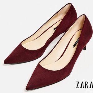 Zara Basic Burgandy Kitten Heels
